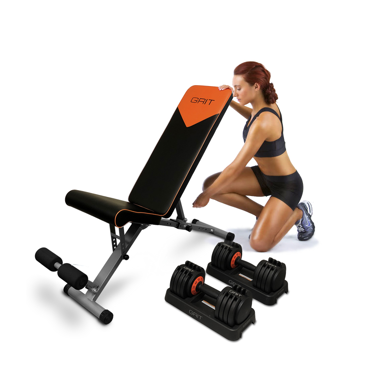 woman operating GRIT workout bench