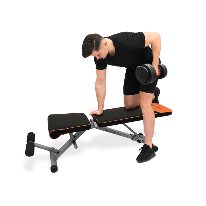 man doing exercise on grit workout bench black with 55 lbs adgustablle dumbbells